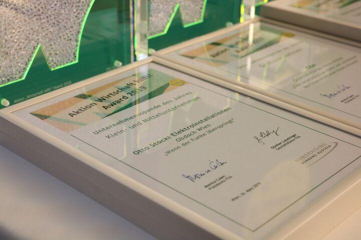 Der funkelnde Award und die Urkunde sind Trophäen eines gelungenen Projekts. (Bild: FSW)
