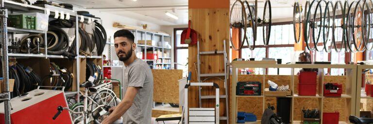 Omid ist froh, wieder in der Radwerkstatt schrauben zu können. (Bild: FSW)